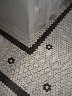 Hex Tile Pattern Open Center Flower Stripe Border Black On White Vintage Bathroom Tile Hexagon Tile Bathroom Floor Hex Tile Floor