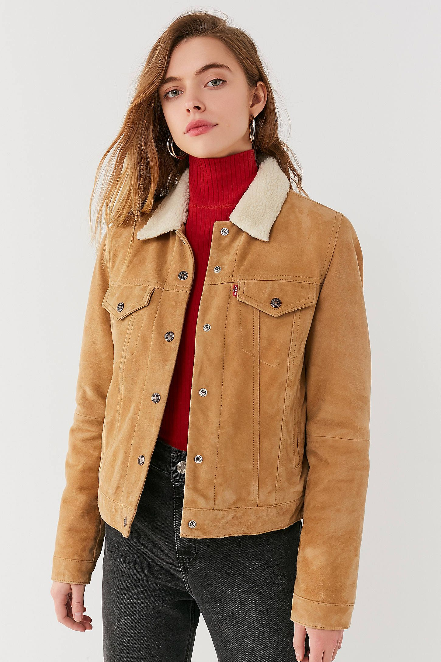 Levi's Suede Sherpa Trucker Jacket Jackets, Denim trends