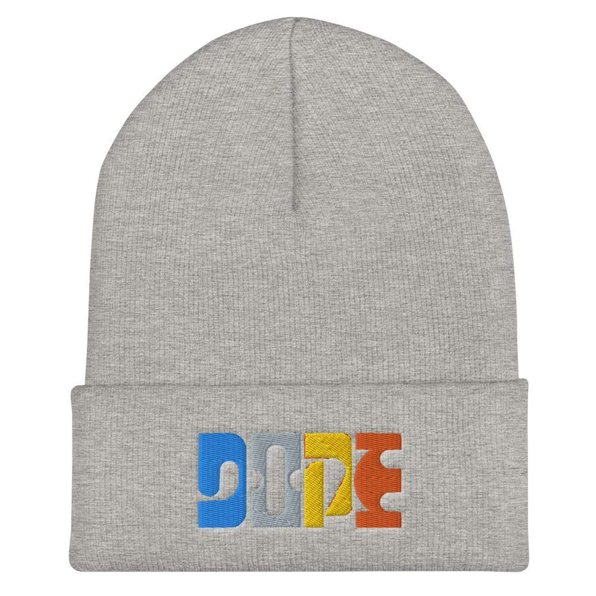 Dope | Cool Colorful Typography Graphic Embroidered Cuffed Beanie - Heather Grey