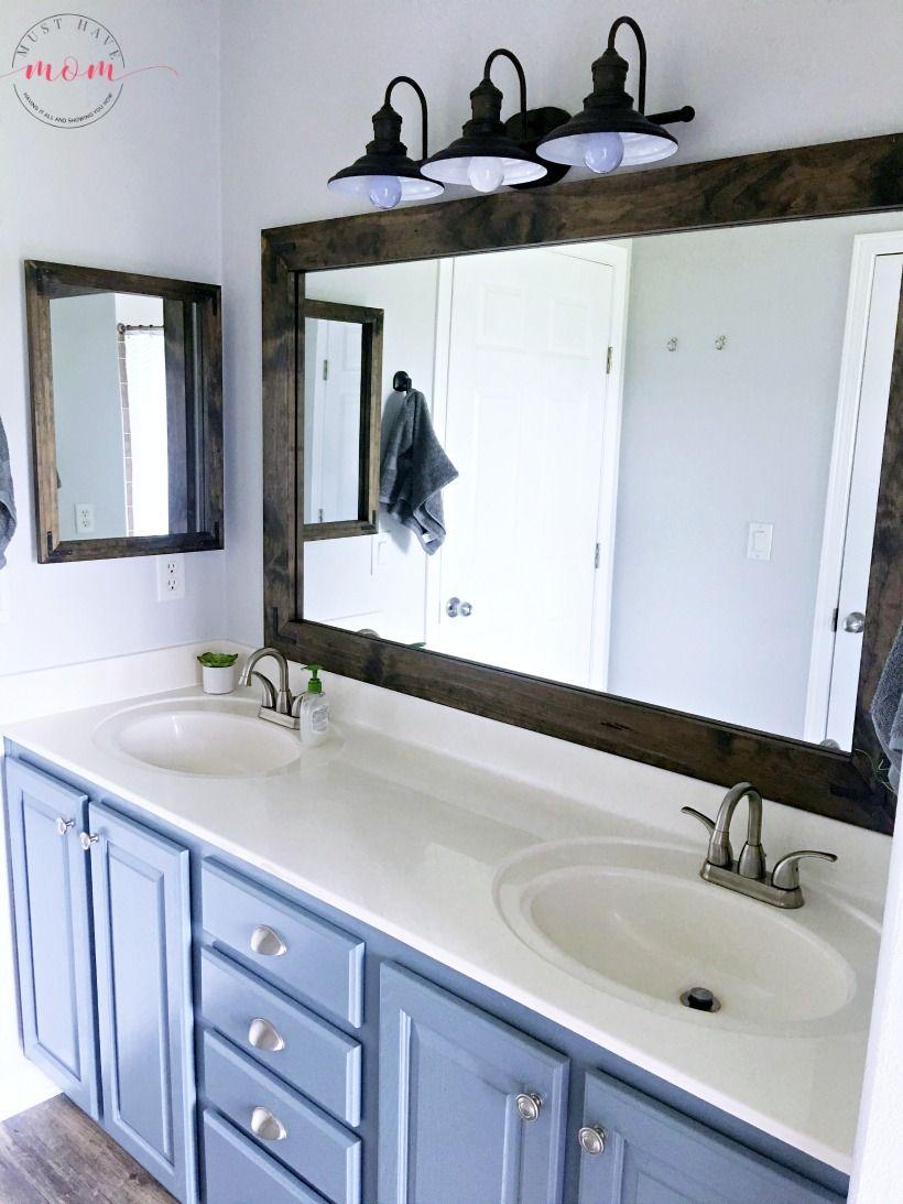 Farmhouse Style DIY Vanity Mirrors Tutorial austin home
