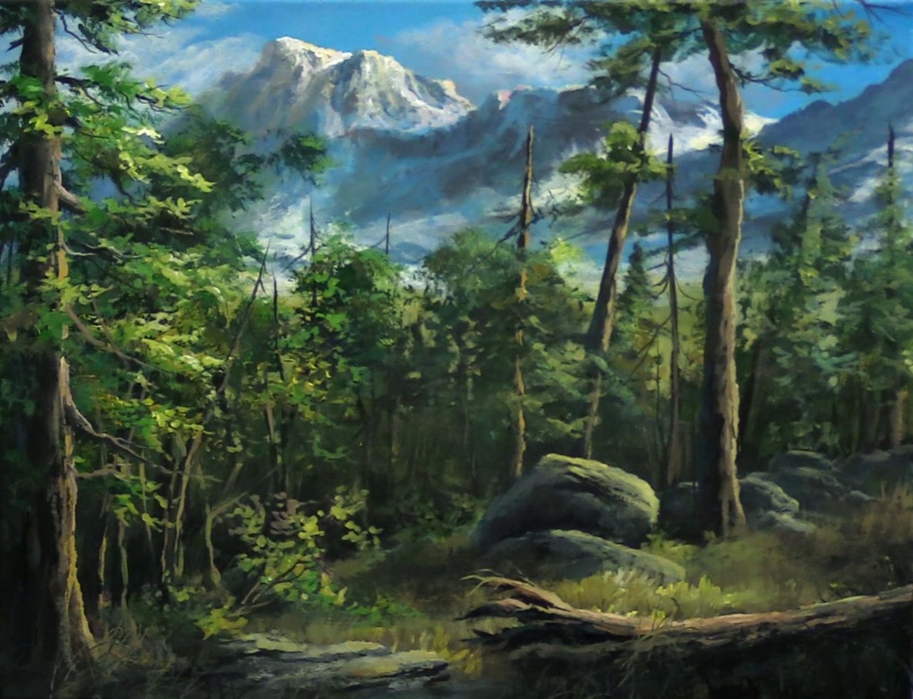 Forest View Acrylic Painting By Kevin Hill Watch Short Painting Lessons On Youtube Kev Mountain Painting Acrylic Kevin Hill Paintings Oil Painting Landscape