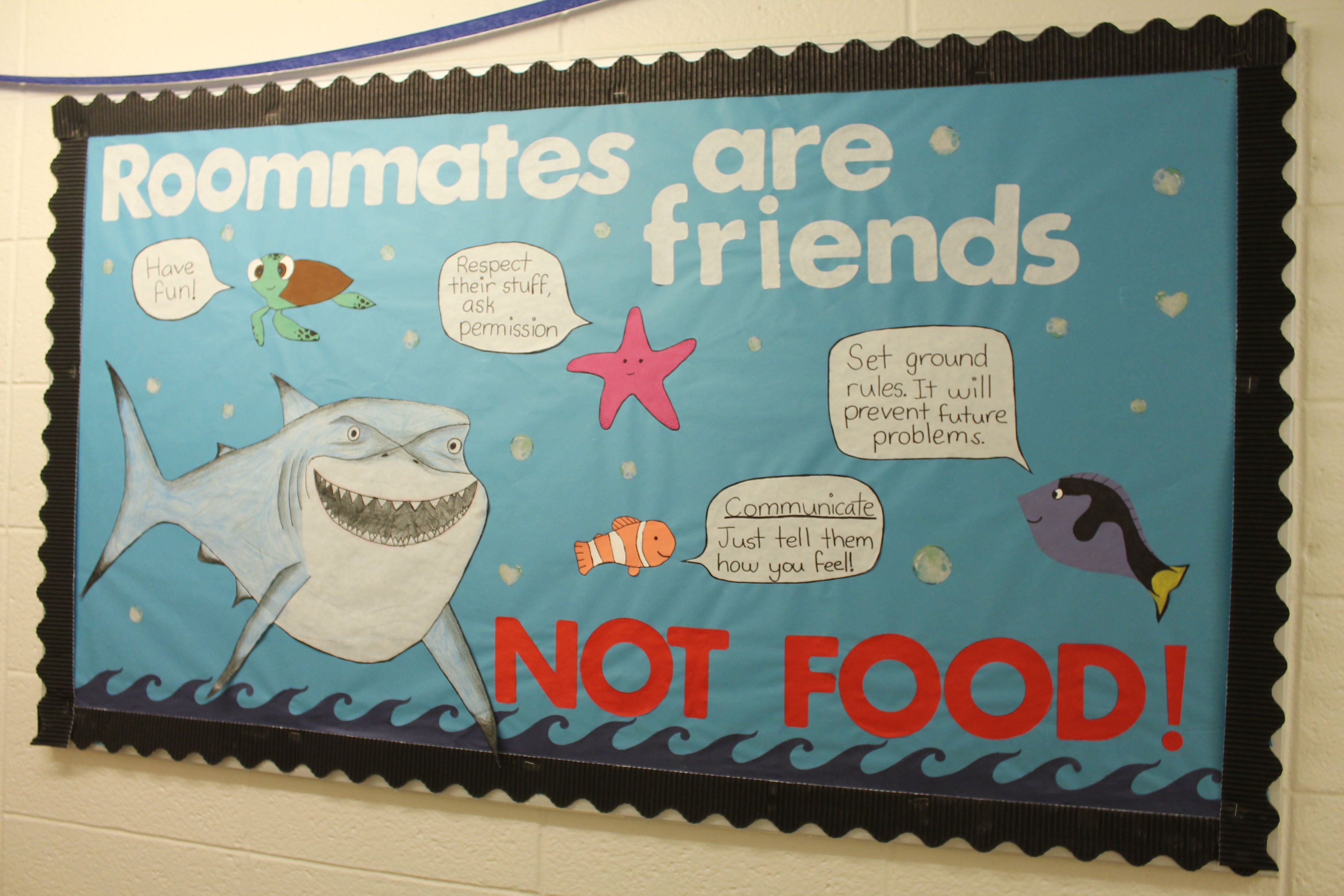 Roommates are friends. Nemo themed RA board #rabulletinboards