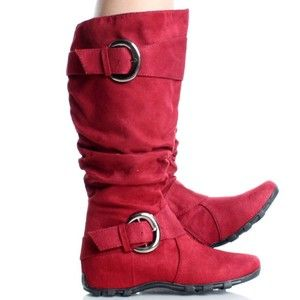 red boots for women | Red Flat Knee High Boots Slouch Tall Buckle ...
