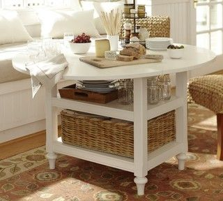 Pottery Barn Shayne Drop-Leaf Kitchen Table in antique white ...