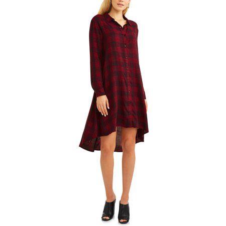 dd8587f544c Women s Hi Lo Plaid Shirt Dress Image 1 of 5