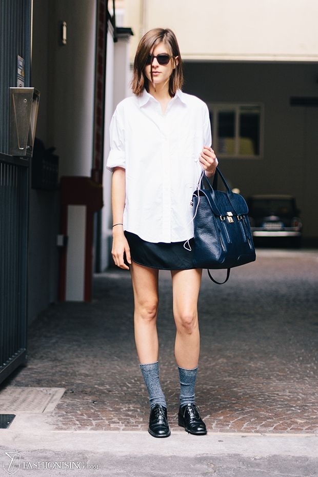 6463fc97fbc8 kel markey model street style off duty tomboy white shirt leather skirt  brogues sunglasses