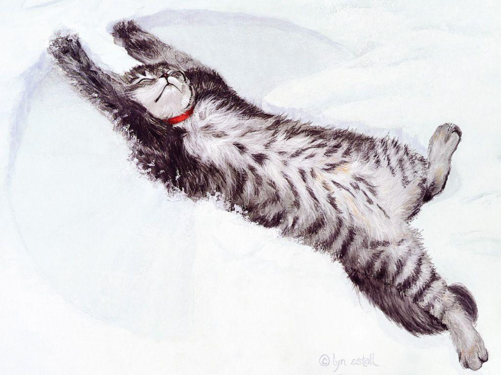 Lyn Estall Snow Angel. art cute cats winter Cat