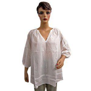 Womens Boho Fashion White Tunic Top Spring Summer Cotton Blouse Xxl Size (Apparel)