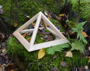 Small Folding Wooden Pyramid, Meditation Pyramid for Self Healing, positive energy