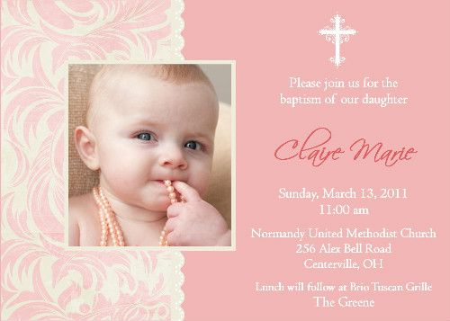 Wording Sample Ideas For Baptism Invitations