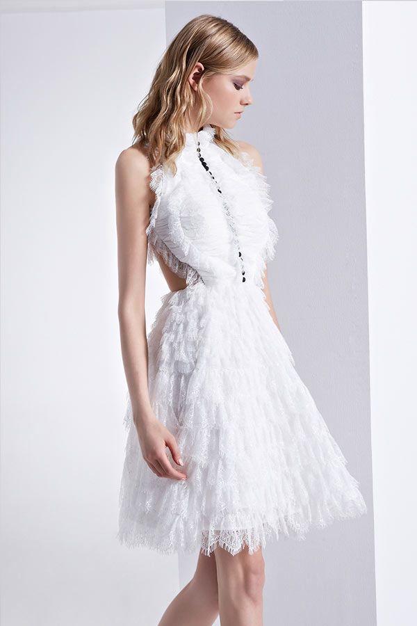 Chic robe de bal blanche dentelle à col montant dos découpé   Robe ... 515e91c0ea11