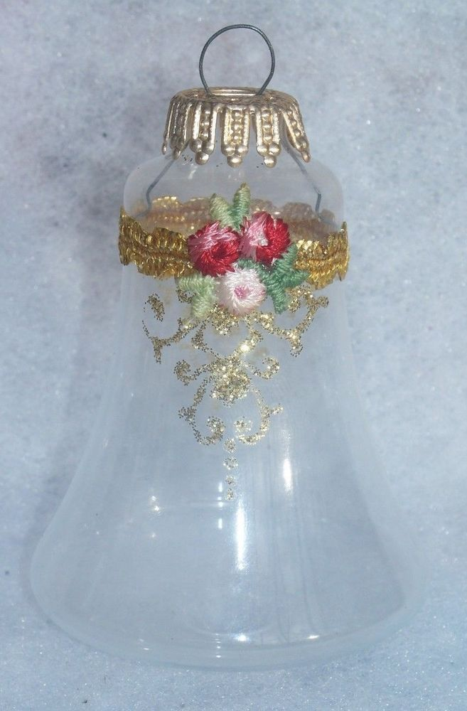 Vintage West Germany Glass Christmas Bell Ornament Bell Ornaments Ornaments Christmas Bells