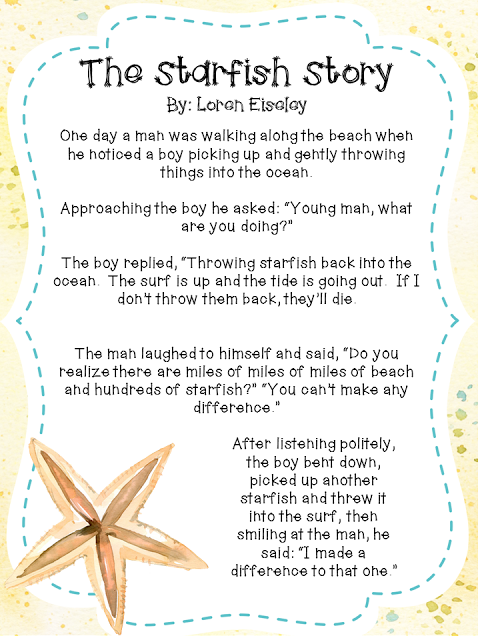 The starfish story is a great product for back to school for Star fish story