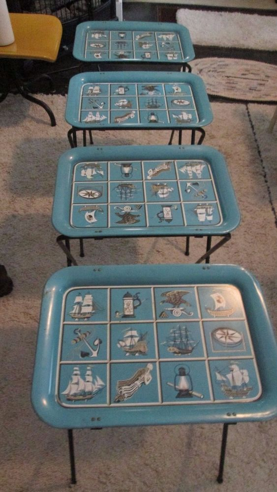 Vintage Metal Tv Trays On Stands Nautical Retro Mid Century Set Of 4 Ebay