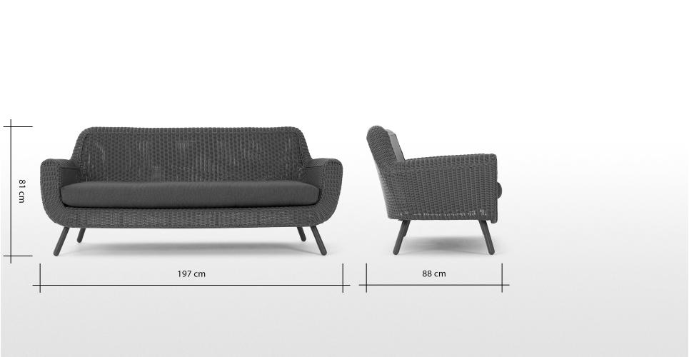 Made Sofa Grau Sofa 3 Seater Sofa Garden Sofa