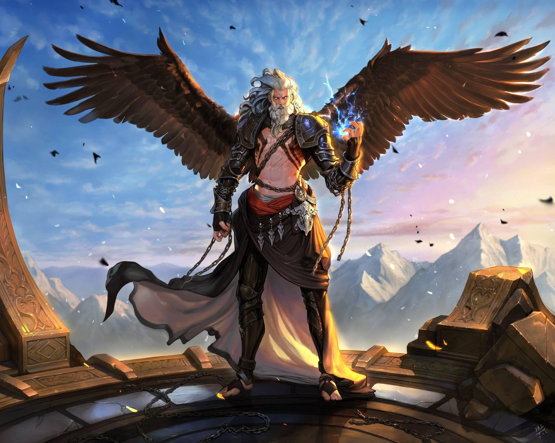 Aasimar Sorcerer angel; aasimar; daddy; d&daddies; sorcerer; mage; wings; d&d