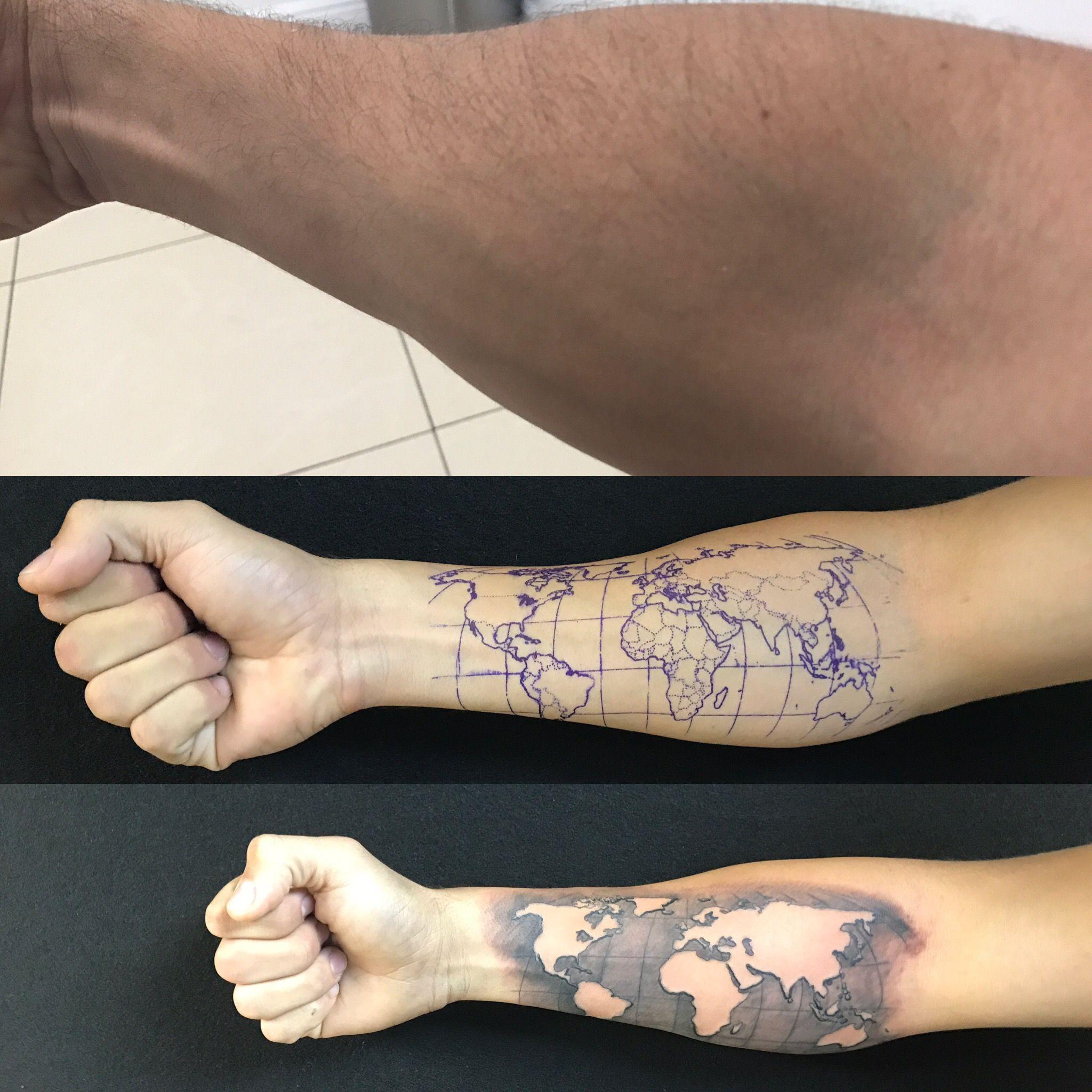 6b1ea9453 World Map Tattoo | Tattoo | World map tattoos, Map tattoos, Earth tattoo
