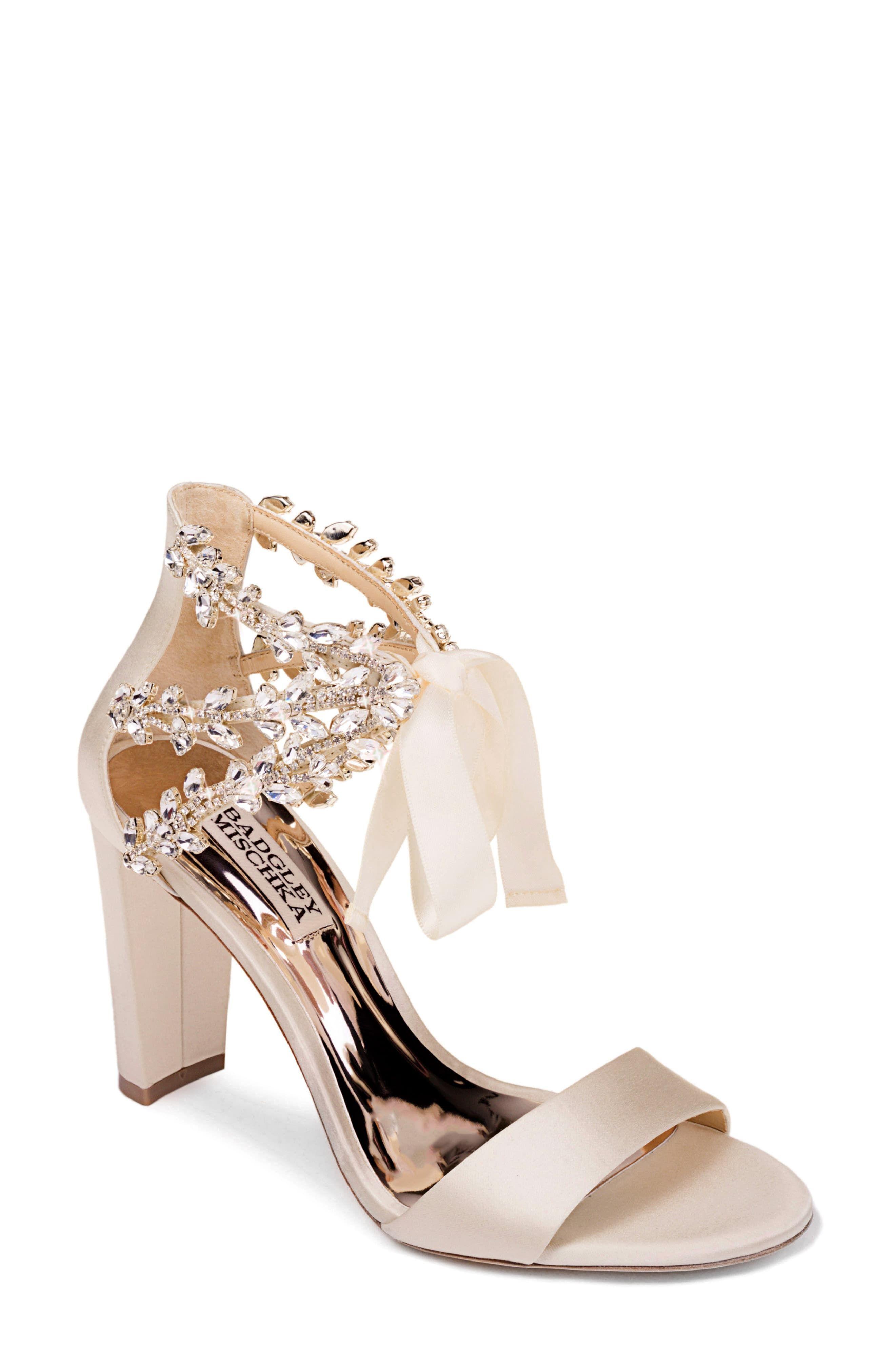 Women S Badgley Mischka Ever After Embellished Sandal Size 8 M Ivory In 2020 Wedding Shoes Heels Bride Shoes Bridal Shoes