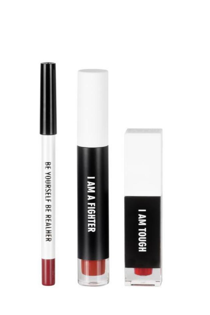 Real her red womenus empowerment i am fabulous lip kit cream lip