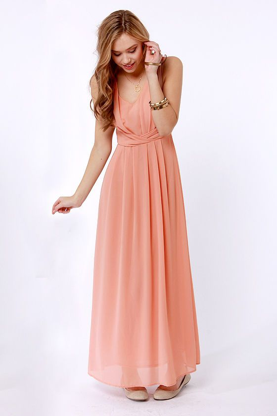 475eb2c460f8 So many great dresses on this site! Lovely Dusty Peach Dress - Maxi Dress - Lace  Dress - $53.00