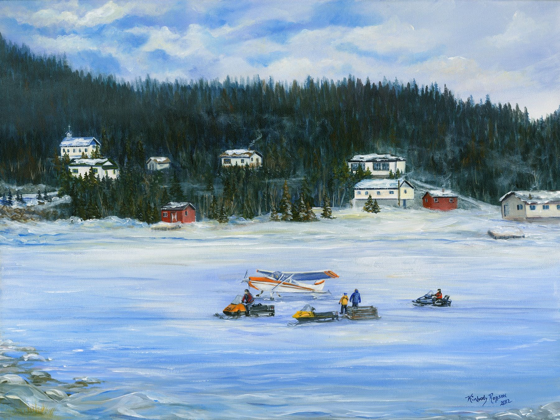 'Mail Run', Great Harbour Deep, NL - Resettled in 2002  (Acrylic Painting by Kimberly Ropson)