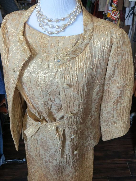 1950s Mad Men Two Piece Gold Brocade Dress by ClassicClothingWhse, $85.00