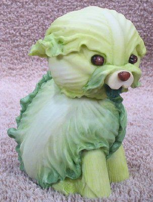 Cabbage dog from home grown vegetable figurines products i love