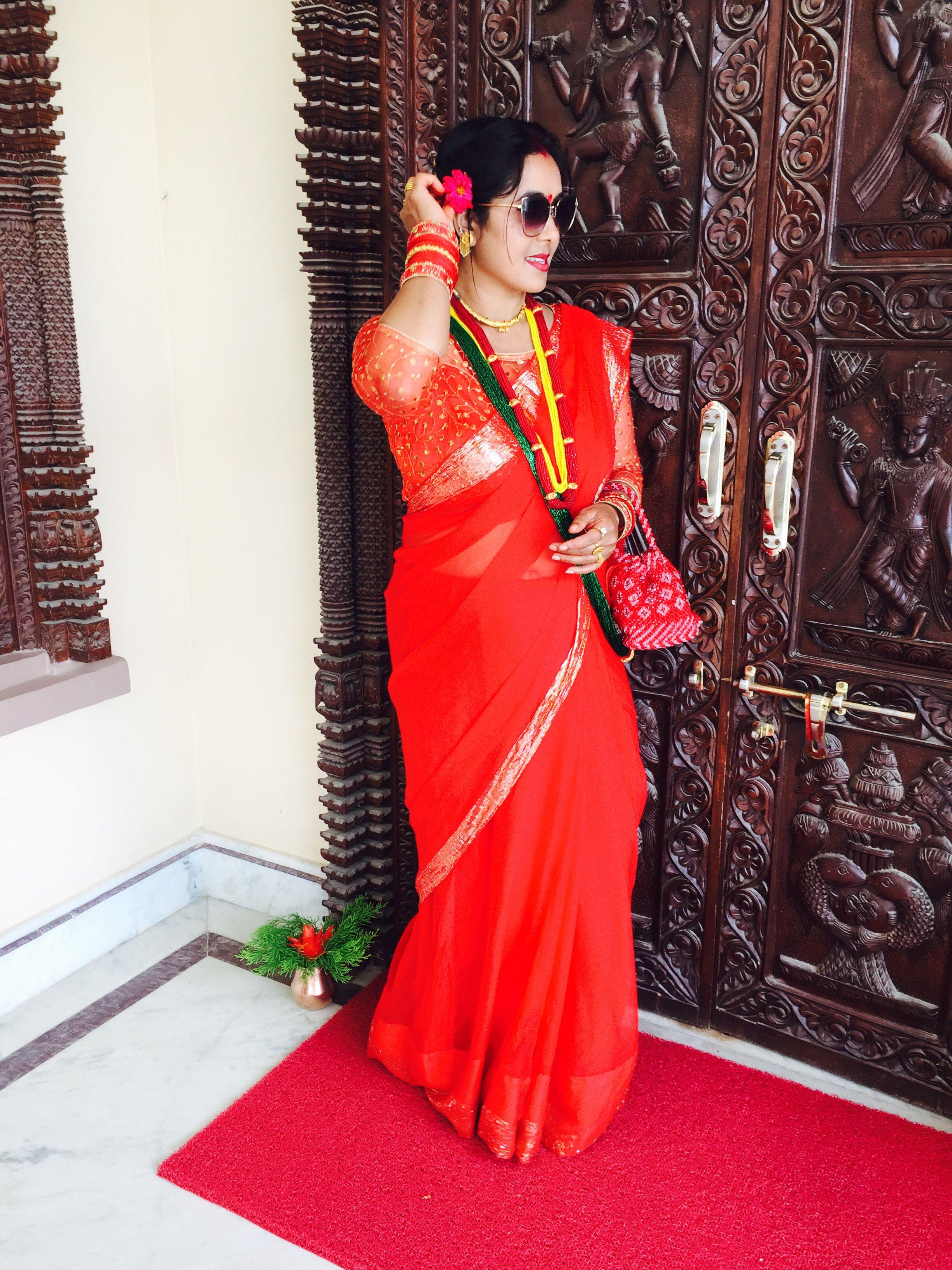 4a2fffae3f26a4 #sari #red # teej # 2018 # Nepal # Nepali # mom # tejaswinee #instagram :  tejaswineerisal 😍❤ 😘