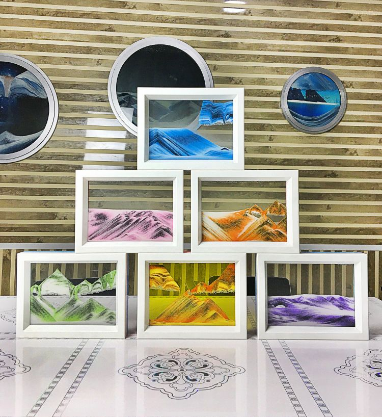 73x57 framed moving sand time glass picture home office