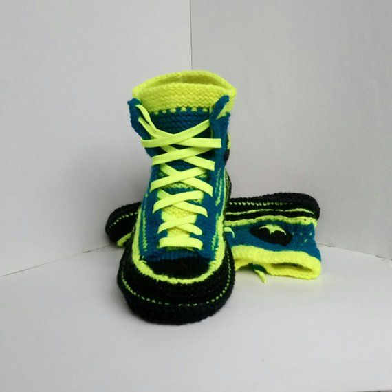 6a9386ec03fb Knitted converse Crochet gift for boyfriend Crochet Converse sneakers Socks  with sole Knitted house
