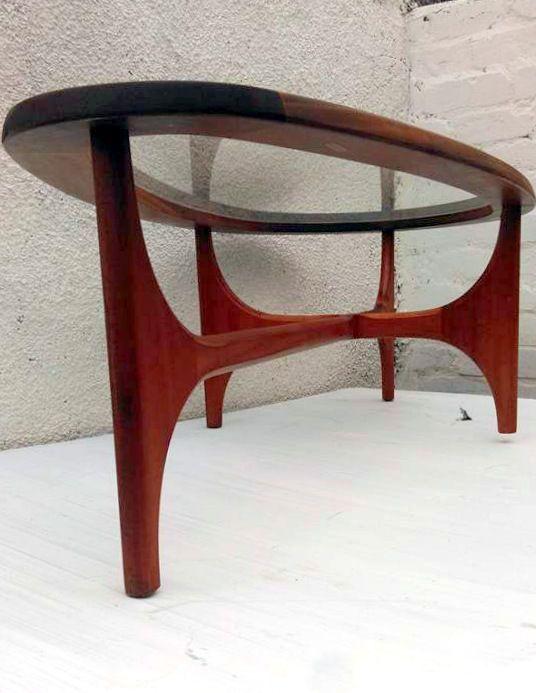vintage retro s stonehill teardrop oval glass coffee table gplan astro