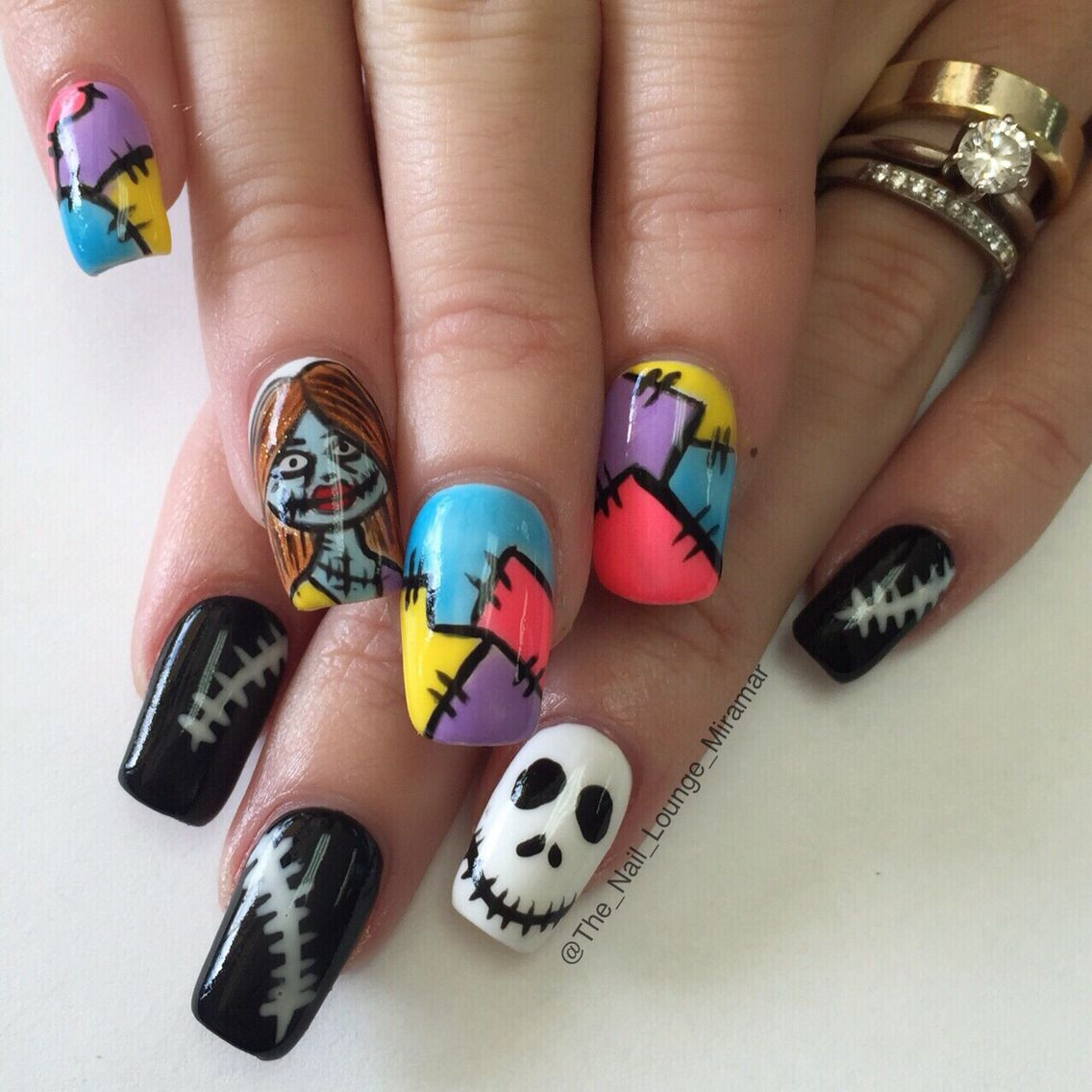 Jack And Sally Nail Art Design Nail Art Pinterest Sally Nail