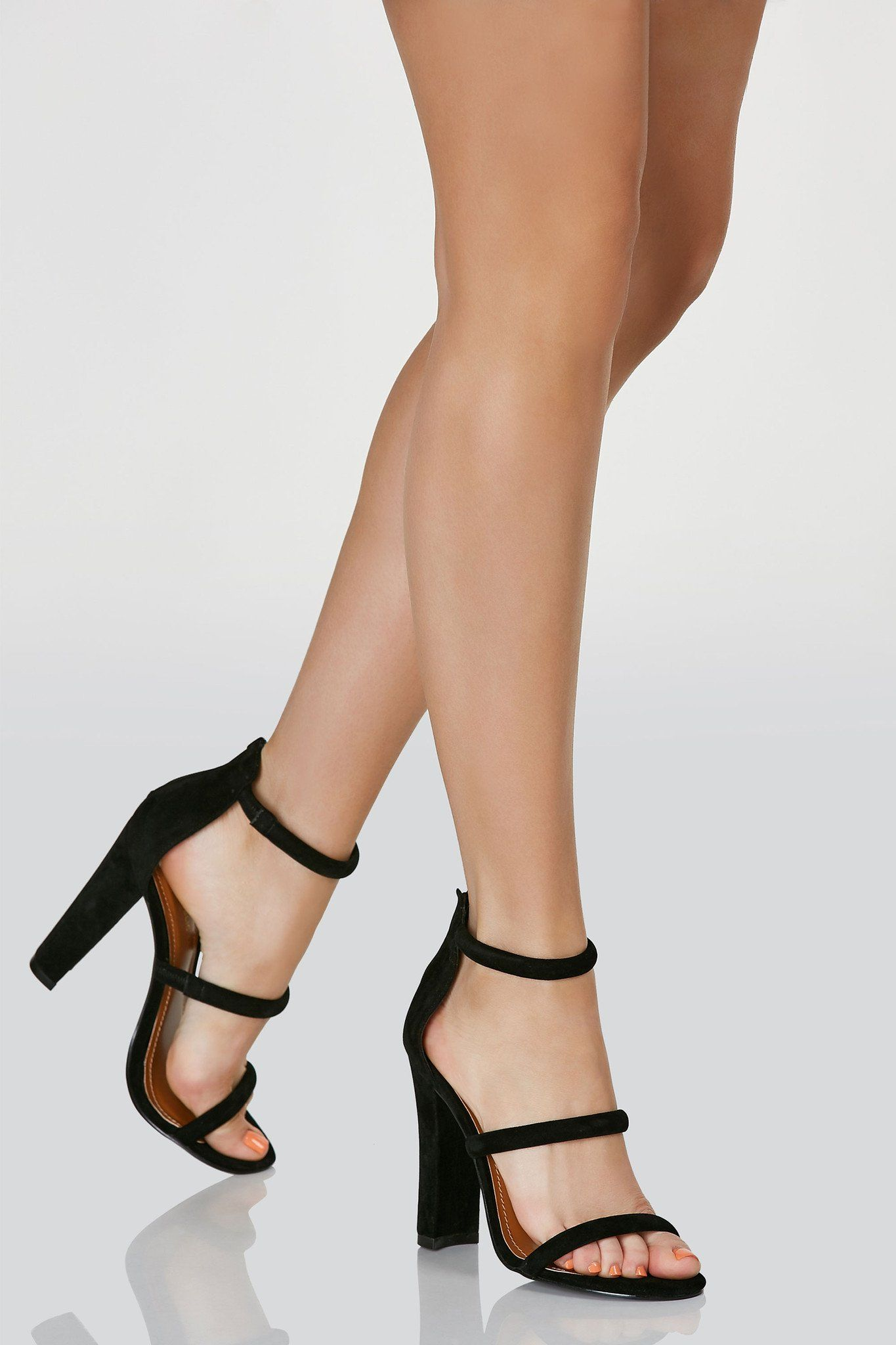66dd8fe3f980 Classic three strap pumps with soft velour finish. Back zip closure and  chunky block heels.