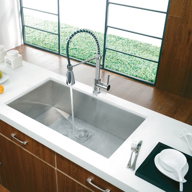 attractive Vigo Sinks And Faucets Part - 9: Vigo Premium Collection Undermount Stainless Steel Kitchen Sink and Faucet