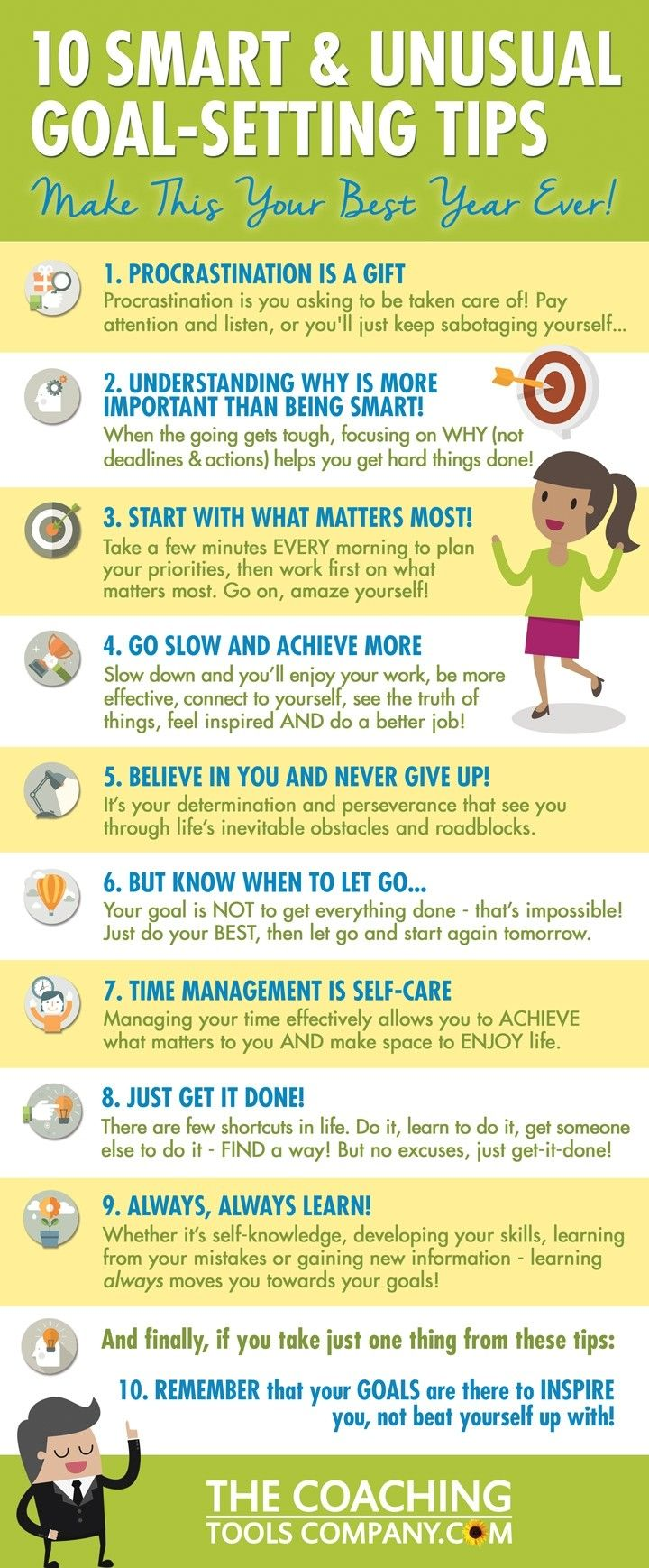10 goal setting hints and tips Self help infographic taken from the coaching tools websitr #lifecoachingtools