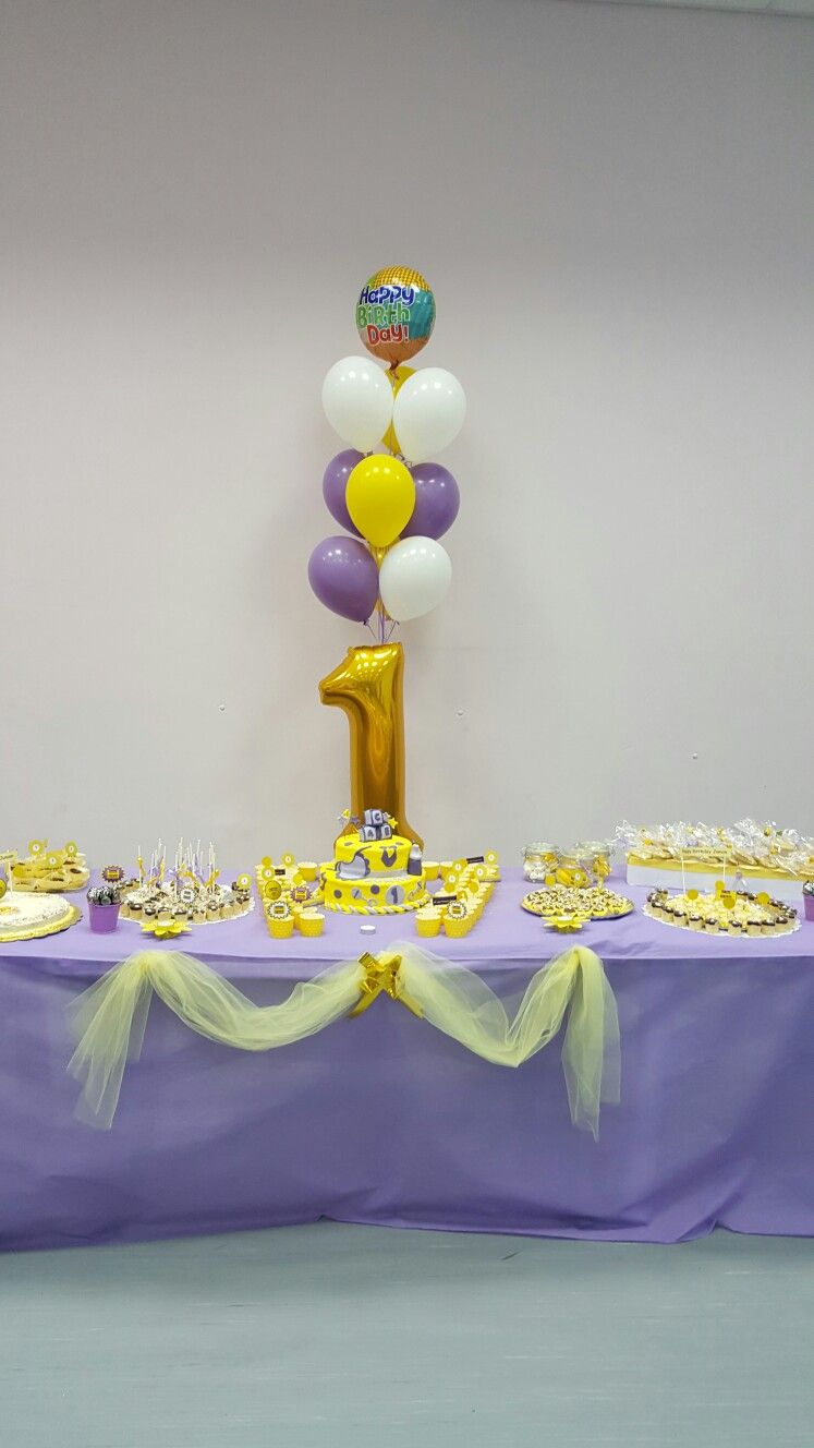 Purple and yellow birthday theme