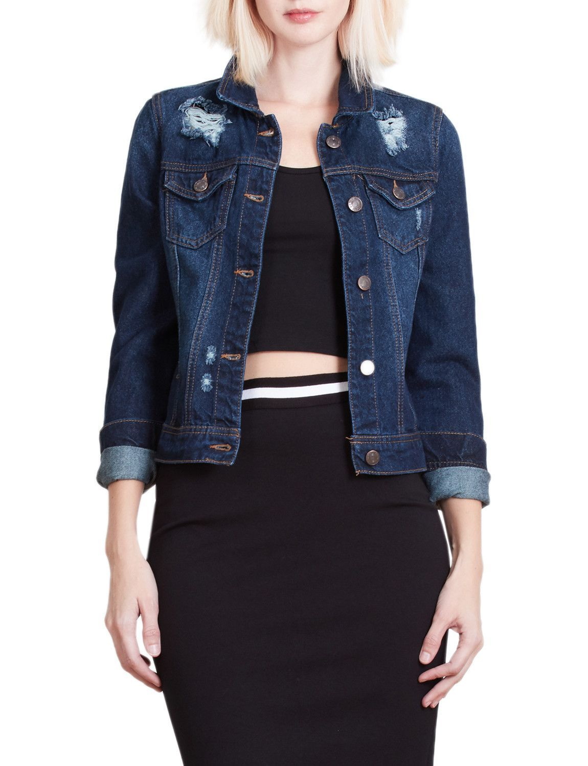 Womens classic long sleeve ripped distressed denim jacket with