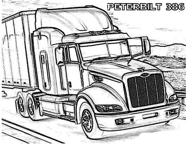 A peterbilt 386 semi truck coloring page truck art for Big trucks coloring pages