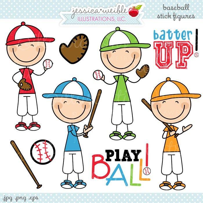 Cute Digital Clipart Figura Con Palos Dibujo De Munecos Chicos De Beisbol
