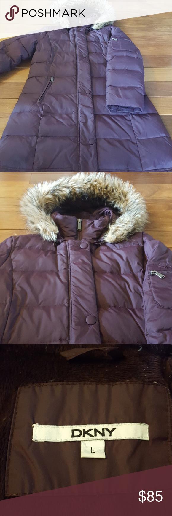 Dkny Down Coat Excellent Condition 3 Outer Zip Pockets Detachable Hood Deep Plum Color Last Pic Shows Color Best Warm And Cozy Dkny Down Coat Dkny Coat [ 1740 x 580 Pixel ]