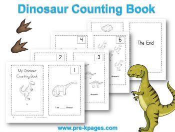 printable dinosaur counting book for preschool and kindergarten - Printable Kindergarten Books