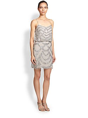 e1d002037a9 Aidan Mattox Sequined Blouson Dress in Silver