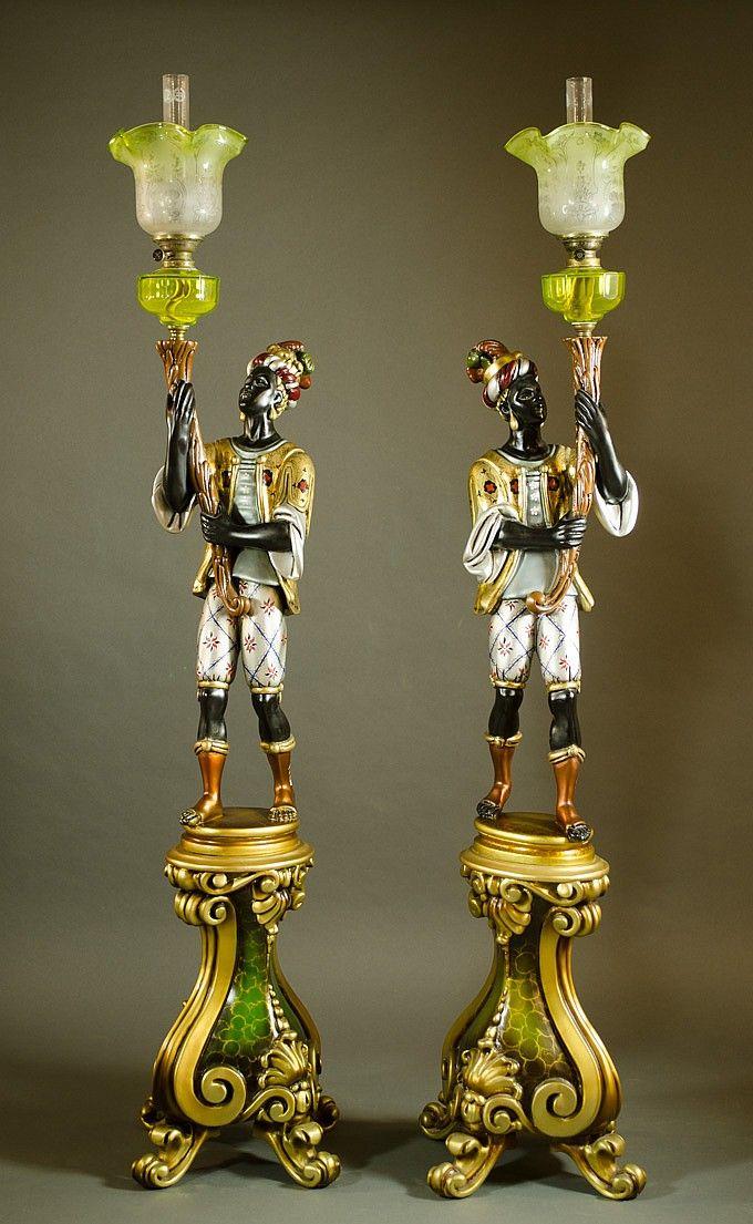 A Pair Of Figural Blackamoor Kerosene Floor Lamps By O Gallerie