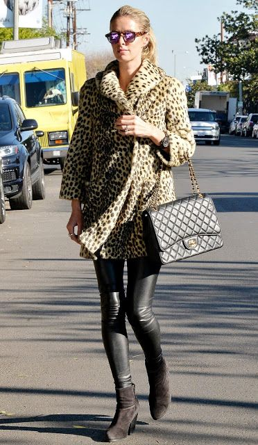 Celebrities In Leather: Nicky Hilton wears black leather leggins