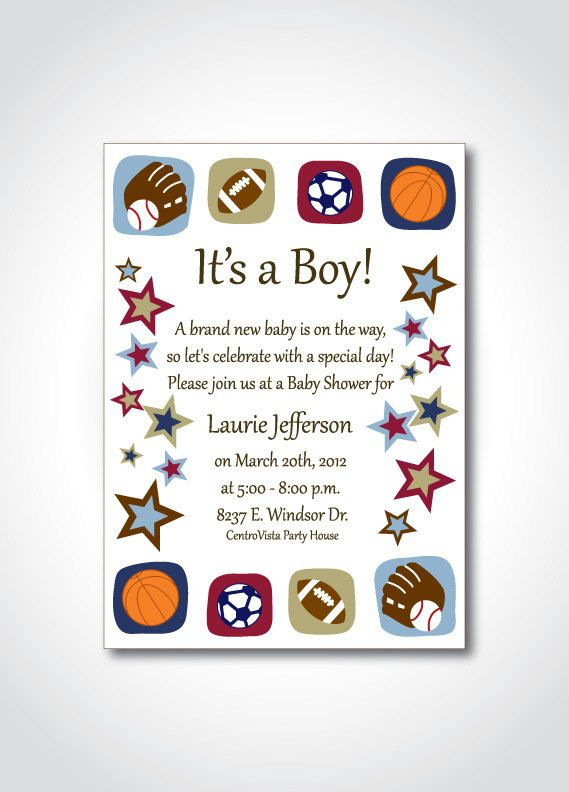 sports theme baby shower printable invitation - diy birthday, Baby shower invitations