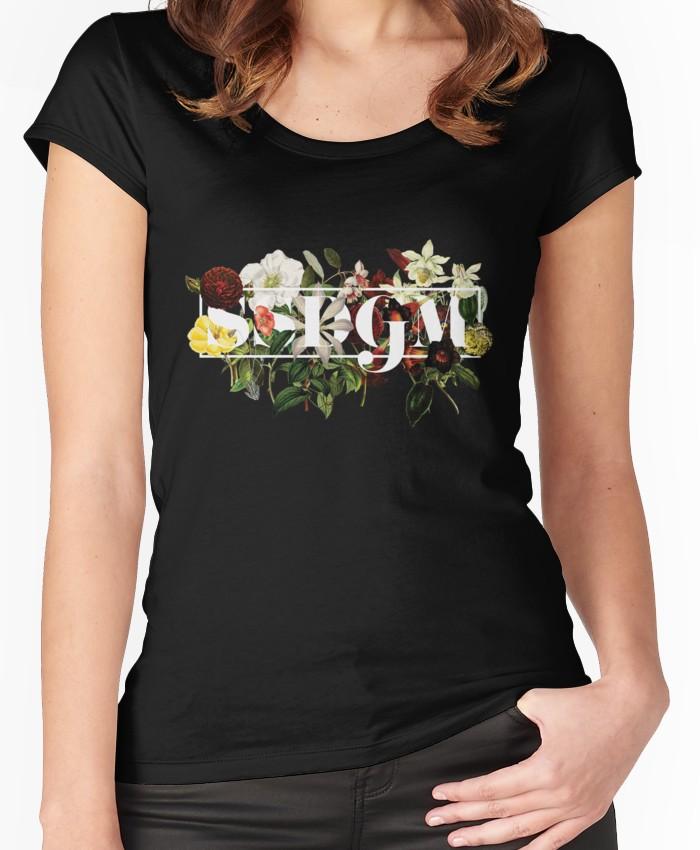 7f5ee95ef SSDGM Murderino Flower Illustration My Favorite Murder Women's Fitted Scoop  T-Shirt