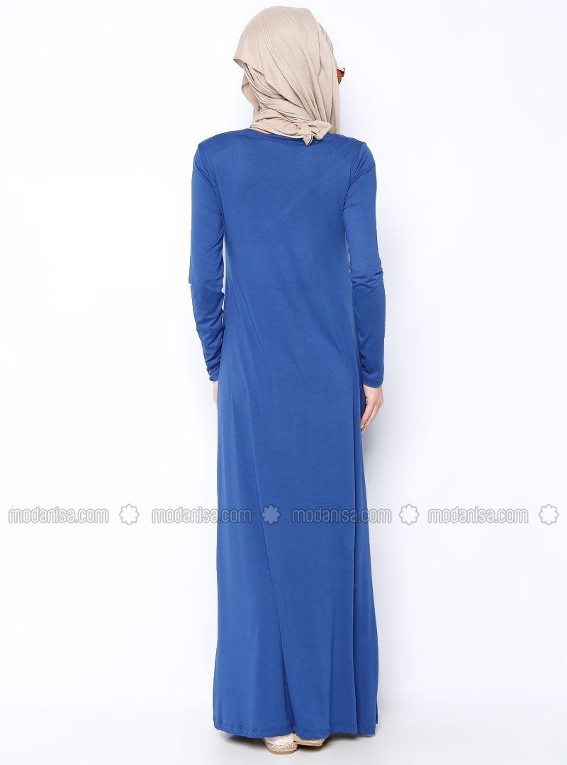 Monochrome Robe - Bleu - Robe - Modanisa