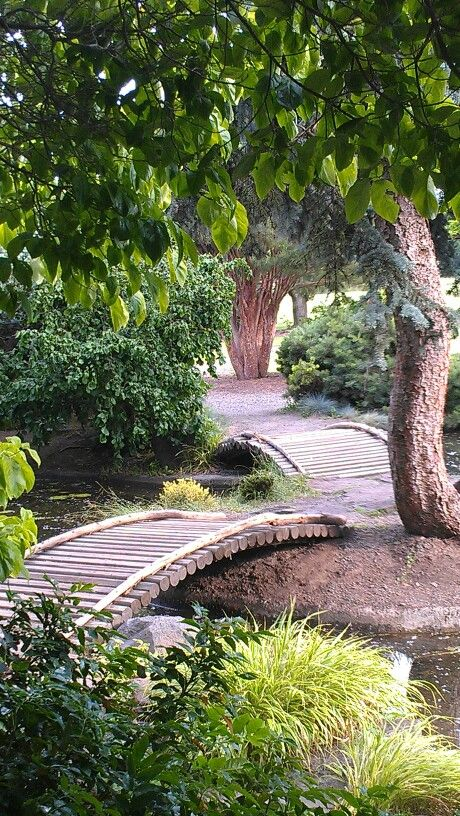 Oriental garden bridge made with landscaping timbers