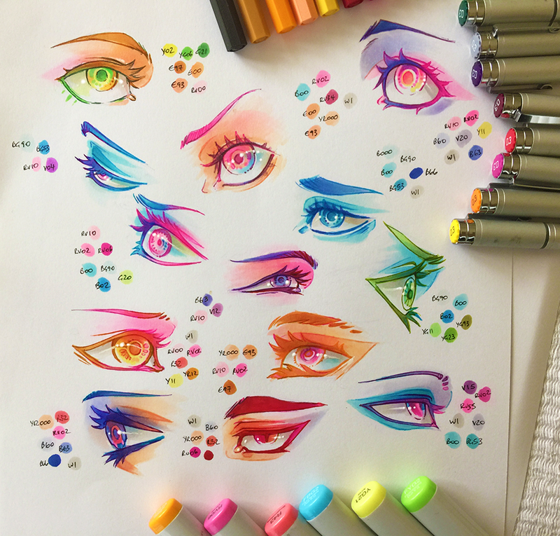 Drawingden Colourful Copic Eye Practice By Clareesi Copic