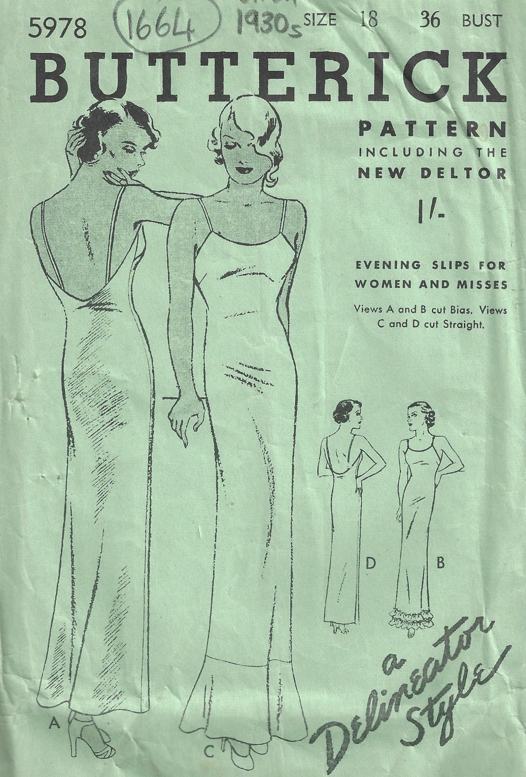Details About S Vintage Sewing Pattern B36 Slip